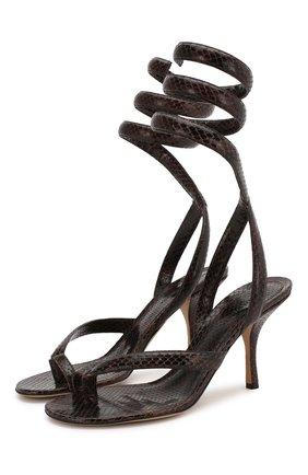 Женские кожаные босоножки BOTTEGA VENETA коричневого цвета, арт. 608865/VF3Q0 | Фото 1