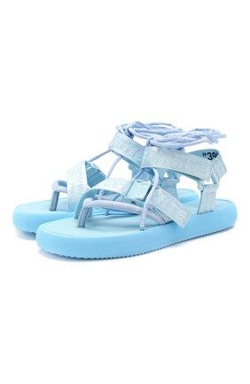 Женские текстильные сандалии OFF-WHITE голубого цвета, арт. 0WIA214S20FAB0014100 | Фото 1