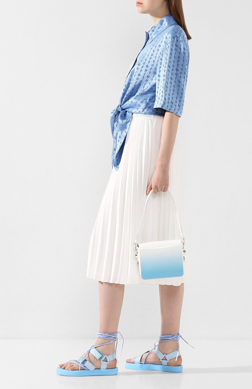 Женские текстильные сандалии OFF-WHITE голубого цвета, арт. 0WIA214S20FAB0014100 | Фото 2