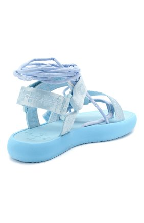 Женские текстильные сандалии OFF-WHITE голубого цвета, арт. 0WIA214S20FAB0014100 | Фото 4