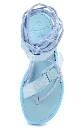 Женские текстильные сандалии OFF-WHITE голубого цвета, арт. 0WIA214S20FAB0014100 | Фото 5