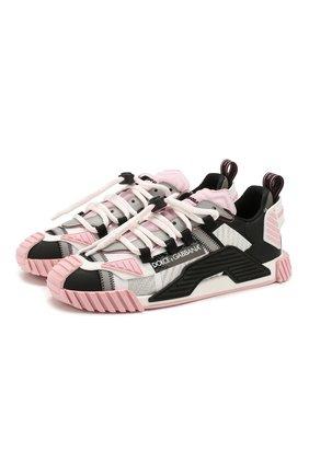 Женские комбинированные кроссовки ns1 DOLCE & GABBANA светло-розового цвета, арт. CK1756/AX168 | Фото 1