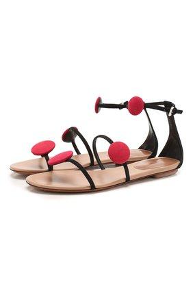 Женские кожаные сандалии ALAIA черного цвета, арт. AE3Y060CH66   Фото 1