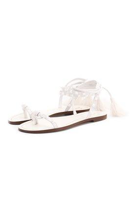Женские кожаные сандалии valentino garavani rockstud flair VALENTINO белого цвета, арт. TW0S0X19/TMS   Фото 1