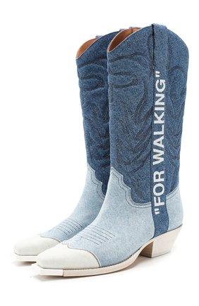 Женские текстильные сапоги OFF-WHITE голубого цвета, арт. 0WIA124R207730847101 | Фото 1