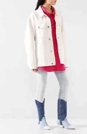 Женские текстильные сапоги OFF-WHITE голубого цвета, арт. 0WIA124R207730847101 | Фото 2