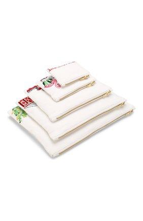 Женская набор из пяти косметичек KILOMETRE PARIS белого цвета, арт. 15A-TRAVEL BAGS SET AMERICAN T0UR | Фото 1