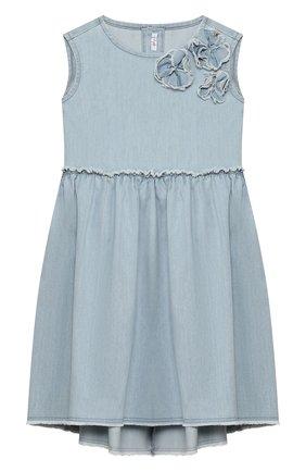 Детское хлопковое платье IL GUFO голубого цвета, арт. P20VA250J0003/5A-8A | Фото 1