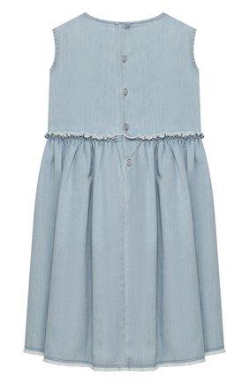Детское хлопковое платье IL GUFO голубого цвета, арт. P20VA250J0003/5A-8A | Фото 2