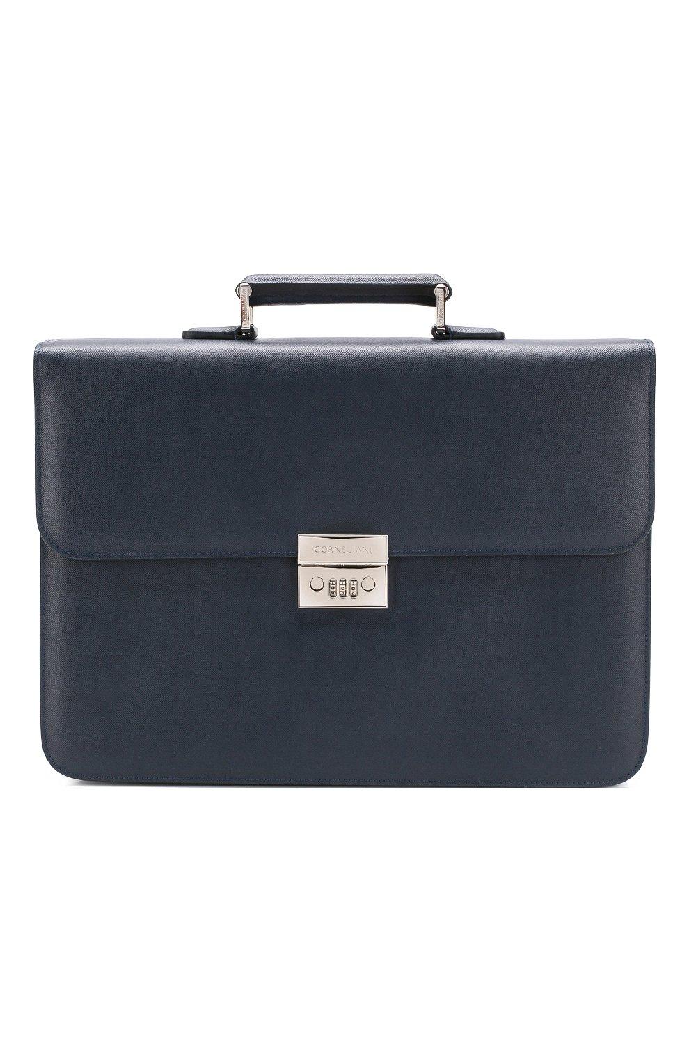 Мужской кожаный портфель CORNELIANI темно-синего цвета, арт. 00TD15-0021812/00 | Фото 1