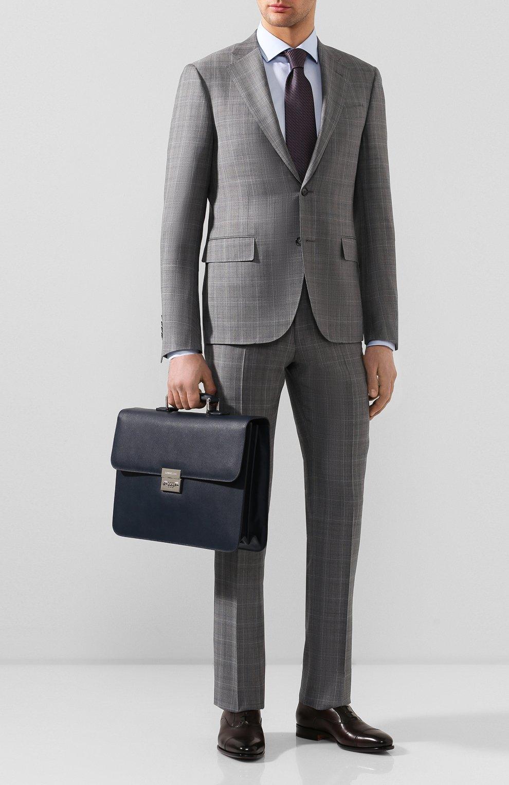 Мужской кожаный портфель CORNELIANI темно-синего цвета, арт. 00TD15-0021812/00 | Фото 2