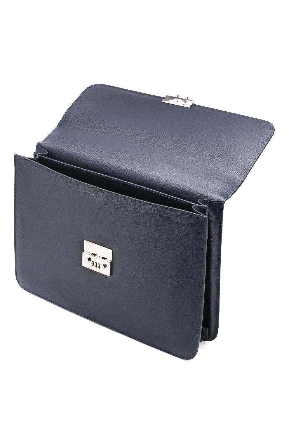 Мужской кожаный портфель CORNELIANI темно-синего цвета, арт. 00TD15-0021812/00 | Фото 4