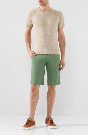 Мужские шорты из смеси льна и хлопка KITON зеленого цвета, арт. UFBLACJ07S51 | Фото 2 (Принт: Без принта; Материал внешний: Хлопок, Лен; Длина Шорты М: До колена; Мужское Кросс-КТ: Шорты-одежда; Стили: Кэжуэл)