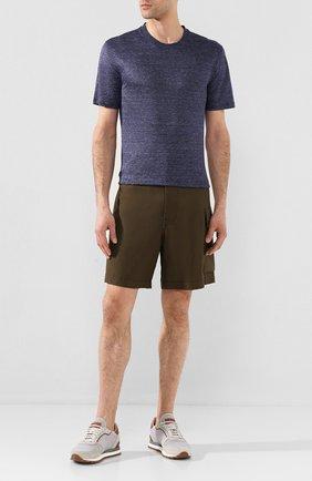 Мужская льняная футболка ERMENEGILDO ZEGNA синего цвета, арт. UU553/706 | Фото 2