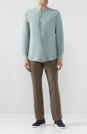 Мужская льняная рубашка Z ZEGNA бирюзового цвета, арт. VU230/ZCSG1 | Фото 2 (Рукава: Длинные; Длина (для топов): Стандартные; Случай: Повседневный; Материал внешний: Лен; Воротник: Мандарин; Принт: Однотонные; Манжеты: На пуговицах)