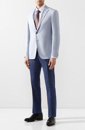 Мужская хлопковая сорочка BOSS голубого цвета, арт. 50429442 | Фото 2
