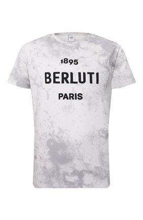 Мужская хлопковая футболка BERLUTI светло-серого цвета, арт. R17JRS43-001   Фото 1