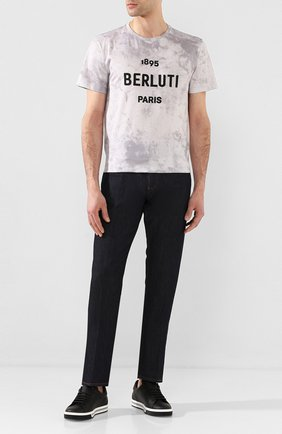Мужская хлопковая футболка BERLUTI светло-серого цвета, арт. R17JRS43-001   Фото 2