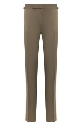 Мужские хлопковые брюки TOM FORD хаки цвета, арт. 774R25/61004Z | Фото 1