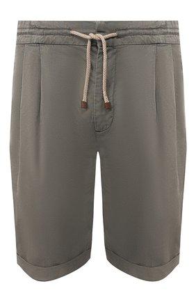 Мужские шорты изо льна и хлопка BRUNELLO CUCINELLI хаки цвета, арт. M291LV0340 | Фото 1