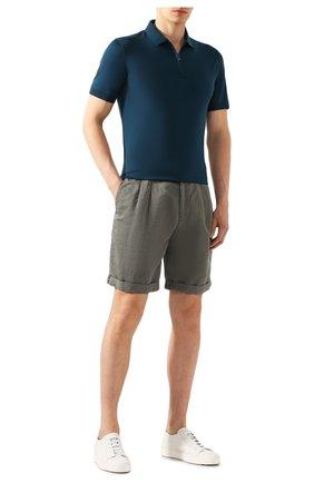 Мужские шорты изо льна и хлопка BRUNELLO CUCINELLI хаки цвета, арт. M291LV0340 | Фото 2