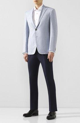Мужские шерстяные брюки ANDREA CAMPAGNA темно-синего цвета, арт. SC/1 FIBB/VB5478 | Фото 2 (Длина (брюки, джинсы): Стандартные; Материал внешний: Шерсть; Случай: Формальный; Стили: Классический)