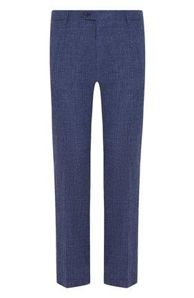 Мужские брюки из смеси шерсти и шелка ANDREA CAMPAGNA синего цвета, арт. ZIP/1 WHITE/LP183U | Фото 1 (Материал внешний: Шерсть; Длина (брюки, джинсы): Стандартные; Случай: Формальный; Стили: Классический)