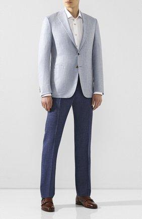 Мужские брюки из смеси шерсти и шелка ANDREA CAMPAGNA синего цвета, арт. ZIP/1 WHITE/LP183U | Фото 2 (Материал внешний: Шерсть; Длина (брюки, джинсы): Стандартные; Случай: Формальный; Стили: Классический)