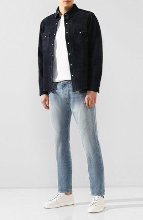 Мужская замшевая рубашка RRL синего цвета, арт. 782774667 | Фото 2