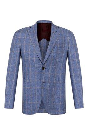 Мужской пиджак из смеси шерсти и хлопка LUCIANO BARBERA голубого цвета, арт. 111G25/15614 | Фото 1