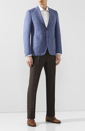 Мужской пиджак из смеси шерсти и хлопка LUCIANO BARBERA голубого цвета, арт. 111G25/15614 | Фото 2