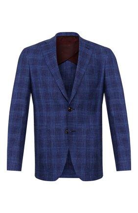 Мужской пиджак из смеси шерсти и шелка LUCIANO BARBERA темно-синего цвета, арт. 111F25/17125   Фото 1
