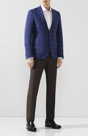Мужской пиджак из смеси шерсти и шелка LUCIANO BARBERA темно-синего цвета, арт. 111F25/17125   Фото 2