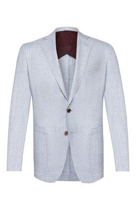 Мужской пиджак из смеси шерсти и шелка LUCIANO BARBERA голубого цвета, арт. 111B25/16037   Фото 1
