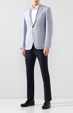 Мужской пиджак из смеси шерсти и шелка LUCIANO BARBERA голубого цвета, арт. 111B25/16037   Фото 2