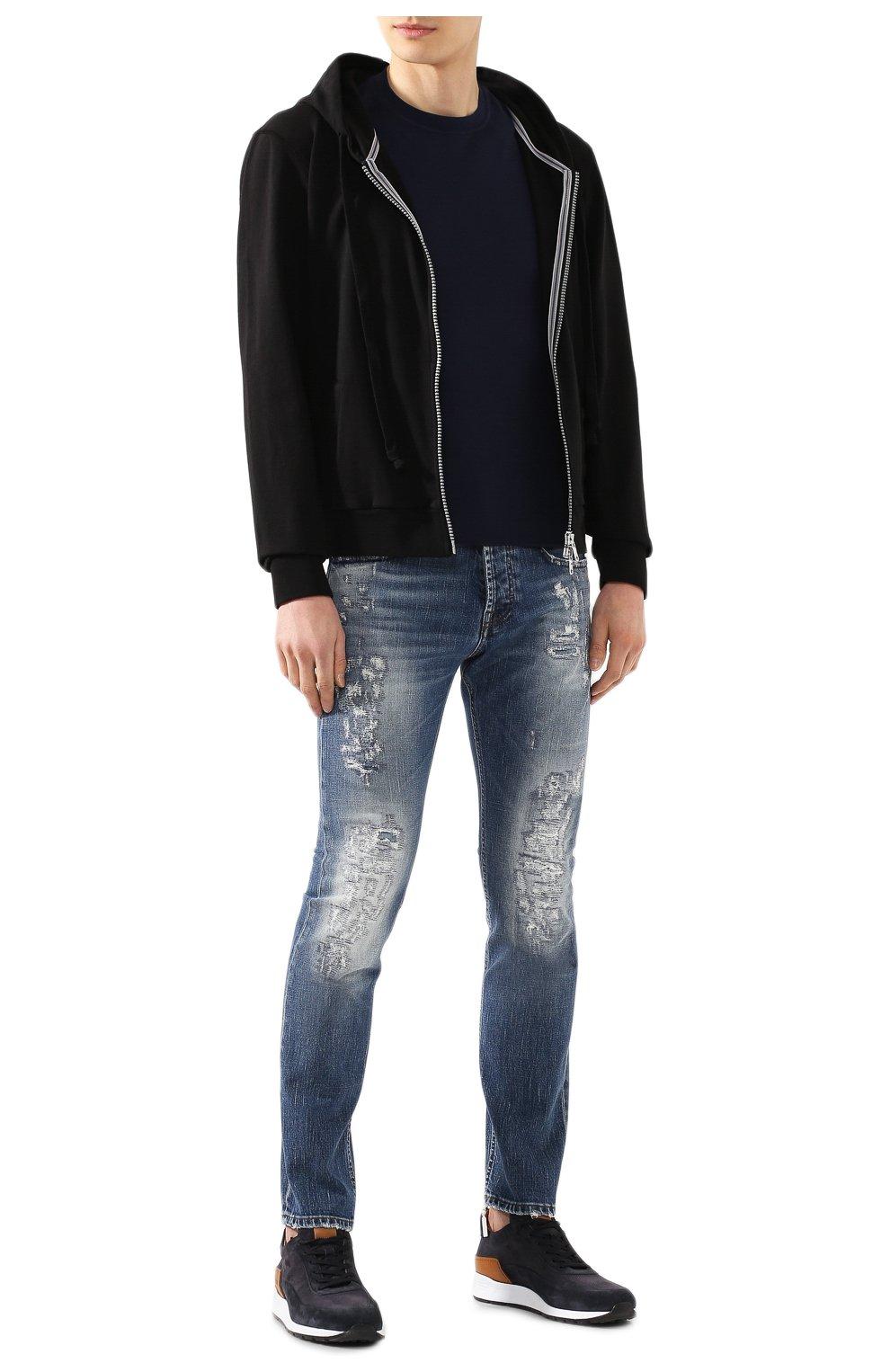 Мужская хлопковая футболка FEDELI темно-синего цвета, арт. 3UED0103 | Фото 2