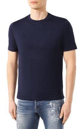 Мужская хлопковая футболка FEDELI темно-синего цвета, арт. 3UED0103 | Фото 3
