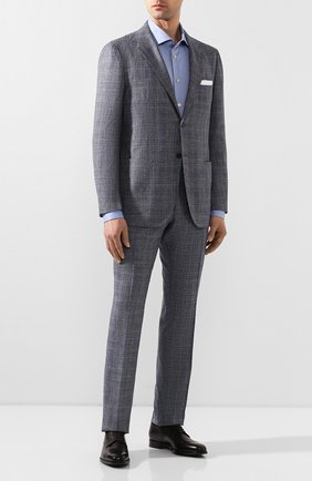 Мужской костюм из смеси кашемира и льна KITON синего цвета, арт. UA81K06S49 | Фото 1