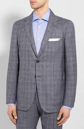 Мужской костюм из смеси кашемира и льна KITON синего цвета, арт. UA81K06S49 | Фото 2