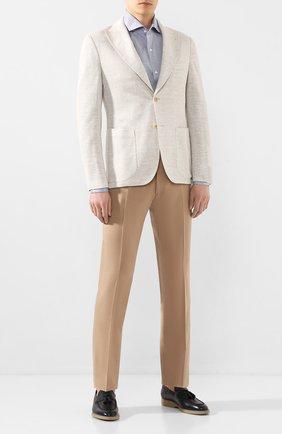 Мужской брюки из смеси шерсти и хлопка BERWICH светло-коричневого цвета, арт. SC/1/LR120U | Фото 2