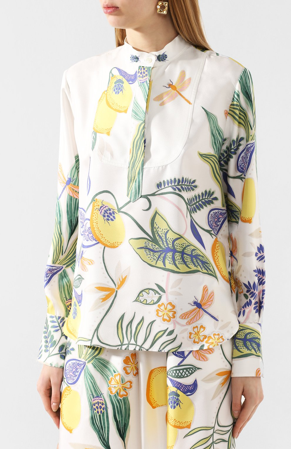 Женская шелковая рубашка LA DOUBLEJ белого цвета, арт. SHI0049-SIL006-B0T0001_ED20 | Фото 3