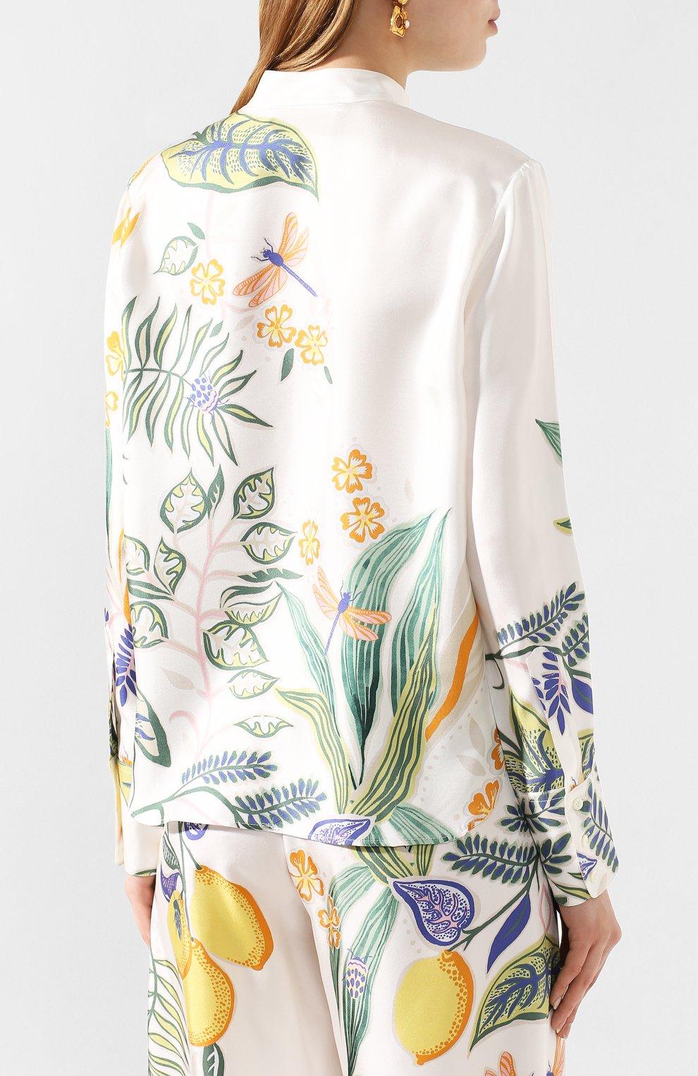 Женская шелковая рубашка LA DOUBLEJ белого цвета, арт. SHI0049-SIL006-B0T0001_ED20 | Фото 4
