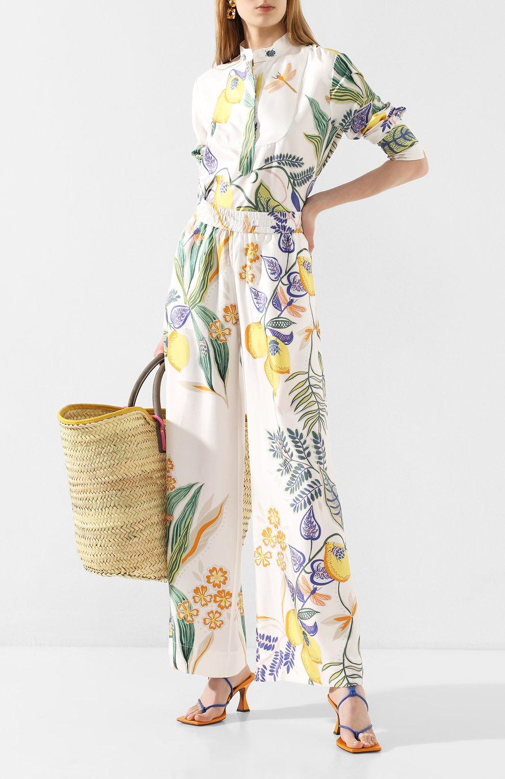 Женские шелковые брюки LA DOUBLEJ белого цвета, арт. TR00026-SIL006-B0T0001_ED20 | Фото 2