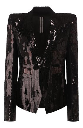 Женский жакет с пайетками RICK OWENS черного цвета, арт. R020S1790/MAEM1   Фото 1