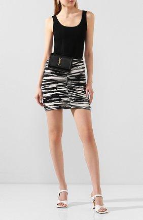 Женская хлопковая юбка BURBERRY черного цвета, арт. 4564119 | Фото 2