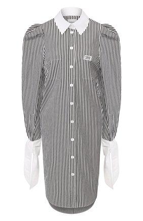 Женская хлопковая рубашка BURBERRY черно-белого цвета, арт. 4564367 | Фото 1