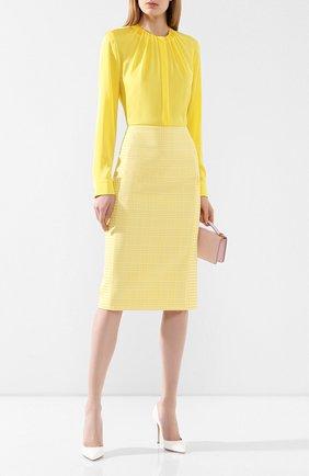 Женская хлопковая юбка BOSS желтого цвета, арт. 50424629 | Фото 2