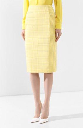 Женская хлопковая юбка BOSS желтого цвета, арт. 50424629 | Фото 3