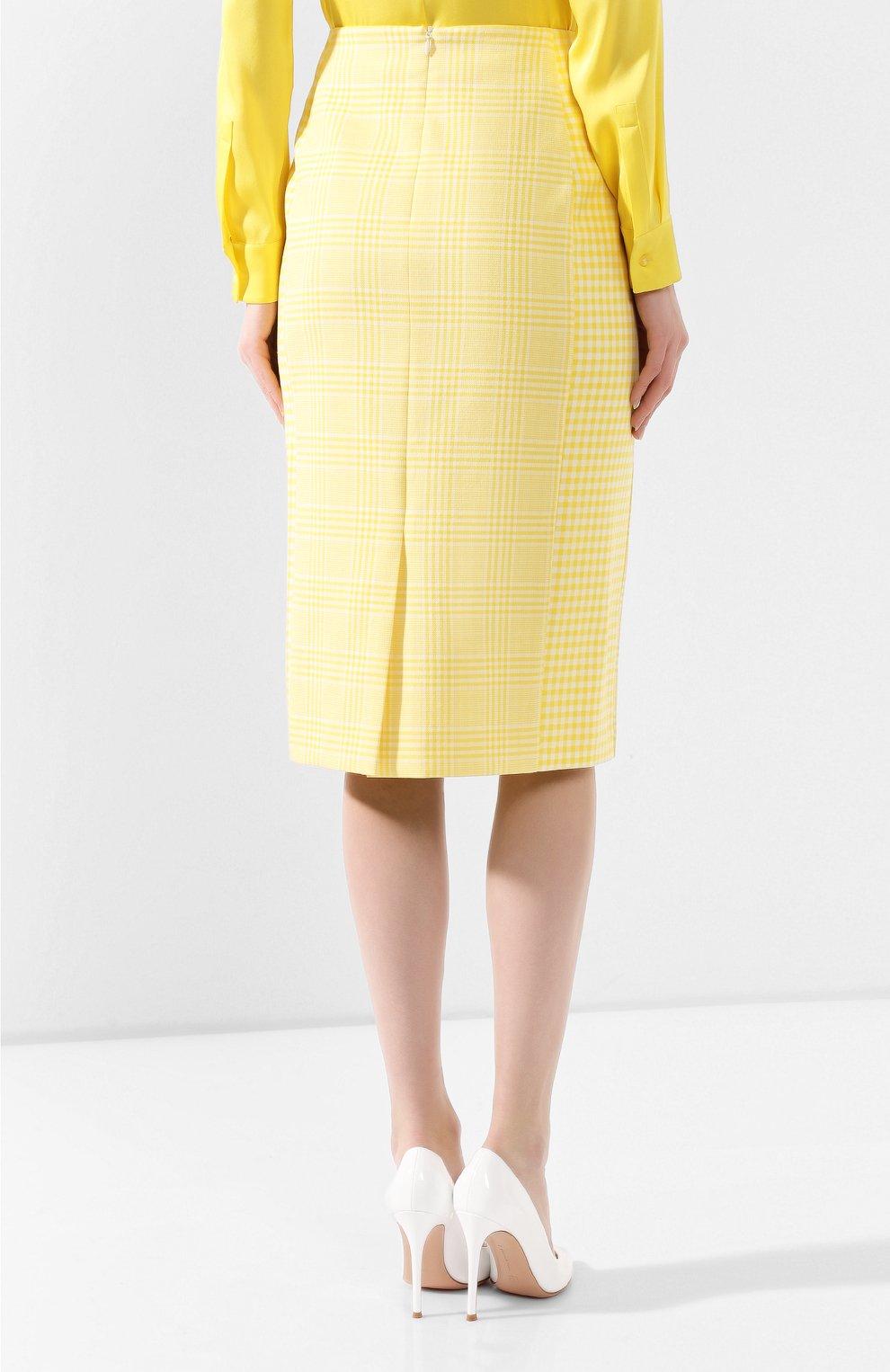 Женская хлопковая юбка BOSS желтого цвета, арт. 50424629 | Фото 4