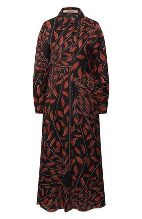 Женское платье из смеси вискозы и шелка DOROTHEE SCHUMACHER коричневого цвета, арт. 749402/GRAPHIC RAY | Фото 1
